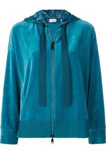 Moncler Blusa De Moletom Com Capuz E Zíper - Azul