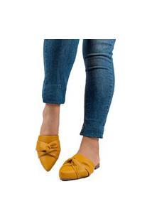 Sapatilha Mule Bico Fino Conforto Amarelo Mostarda