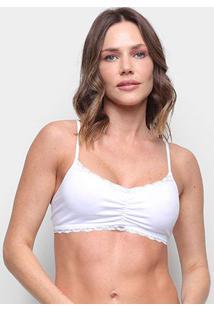 Sutiã Hering Top Tiangulo Detalhe Renda - Feminino-Branco
