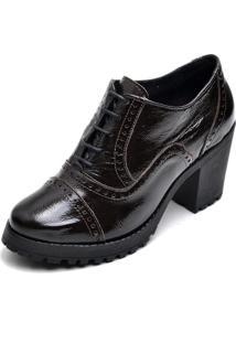 Sapato Oxford Q&A Salto Grosso Tratorado Verniz Em Couro Ref 19000 Café