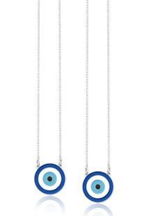Escapulário De Prata Resina Olho Grego Azul - Feminino