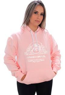 Blusa Moletom Amanda Brazil Flores Rosa - Kanui