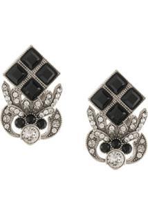 Dolce & Gabbana Par De Brincos Com Logo E Aplicações De Strass - Preto
