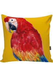 Capa De Almofada Fauna- Amarela & Vermelha- 42X42Cm