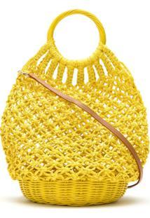 Serpui Bolsa De Crochê De Palha - Amarelo