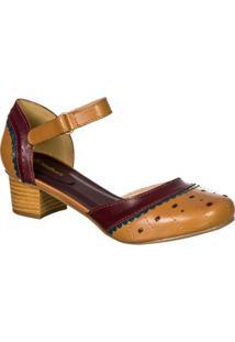 Sapato Feminino Boneca Retro Malbork Em Couro - Feminino-Caramelo
