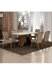 Conjunto De Mesa De Jantar Ii Com 6 Cadeiras Verona Veludo Off White E Camurça