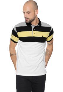 Camisa Polo Aleatory Reta Listrada Preta/Amarela