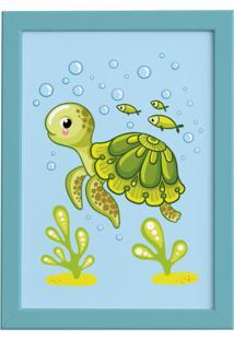 Quadro Infantil Tartaruga Fundo Do Mar Moldura Azul 22X32
