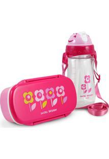 Conjunto Pote Para Lanche E Squeeze Infantil Menina Flor Pink Jacki Design Pink