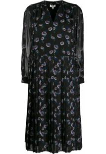 Kenzo Vestido Midi Com Prega 'Passion Flower' - Preto
