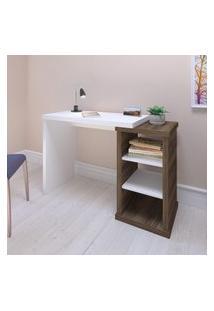 Mesa Escrivaninha 2 Prateleiras Artany Wood Home Office Nogal E Branco