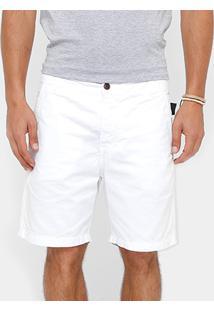 Bermuda Ellus Sarja Bolso Faca Color Slim Masculina - Masculino-Branco