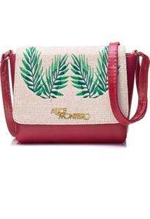 Bolsa Alice Monteiro Com Tampa Bordado Folhas Vermelha