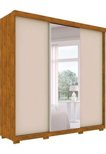 Guarda Roupa Toronto Robel 3 Portas De Correr C/ Espelhos Nature Off White Robel Móveis