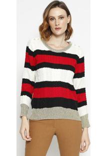Blusa Tricã´ Com Detalhe- Off White & Vermelhala Chocolãª