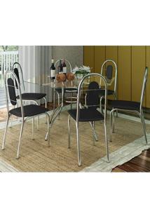 Conjunto De Mesa Tampo Vidro Com 6 Cadeiras Aço Sicília Móveis Brastubo Cromado/Preto