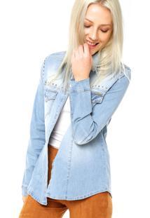 Camisa Jeans Manga Longa Colcci Bolsos Azul