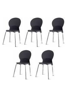 Kit 5 Cadeiras Luna Assento Preto Base Cromada - 57704 Preto