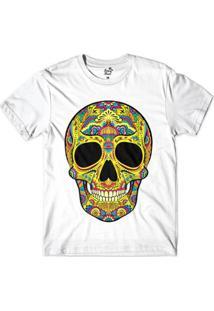 Camiseta Long Beach Caveira Psicodélica Sublimada Masculina - Masculino