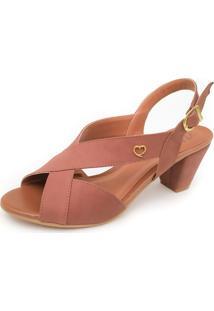 Sandália De Salto Em Couro Amo Calçados Lovely Marrom