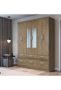Guarda Roupa Casal Com 2 Espelho 6 Portas 6 Gavetas Citrino Decibal Móveis Wood