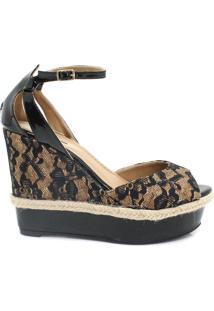 Sandália Zariff Shoes Anabela Preto