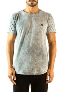 Camiseta Brohood Longline Marmorizado Cinza