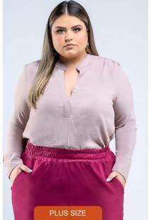 Blusa De Tecido Plano Com Botões Rose