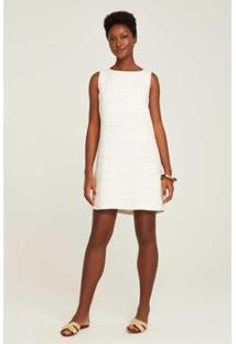 Vestido Regata Reto Pontilhados Feminino - Feminino-Off White