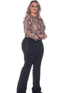 Blusa Almaria Plus Size Lenner Estampada Marrom