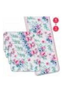 Jogo Americano Com Caminho De Mesa Wevans Floral Premium Kit Com 4 Pçs + 1 Trilho