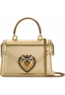 Dolce & Gabbana Bolsa Tote Devotion Mini De Couro - Dourado