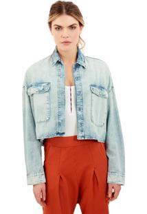 Camisa Rosa Chá Nininha Jeans Azul Feminina (Jeans Claro, Pp)