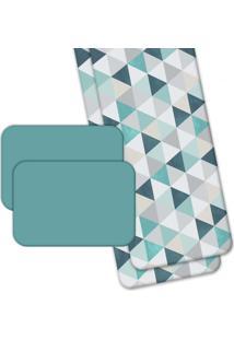 Jogo Americano Love Decor Wevans Com Caminho De Mesa Green Triangle Azul