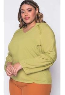 Blusa Almaria Plus Size New Umbi Viscose Com Renda