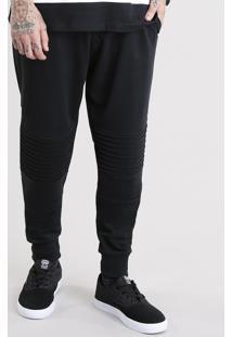 Calça Masculina Jogger Em Moletom Com Recortes Preta