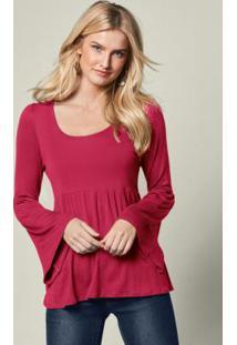 Blusa Com Mangas Sino E Amarração Rosa Pink