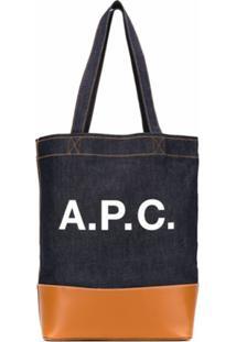 A.P.C. Bolsa Tote Axelle Com Logo - Azul
