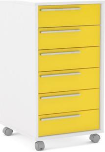 Gaveteiro Maia 6 Gavetas Branco Ff/ Amarelo Brilho