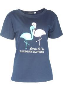 Blusa Infinity Fashion T-Shirt Flamingo Azul Marinho - Kanui