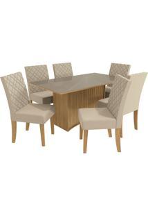 Mesa Para Sala De Jantar Com 6 Cadeiras Ba23-Kappesberg - Freijo / Bege