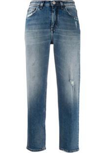 Haikure Calça Jeans Reta Cropped - Azul