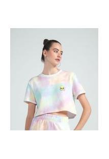 Blusa Cropped Em Moletinho Tie Dye Estampa Et | Blue Steel | Multicores | G