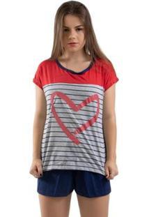 Pijama Baby Doll 4 Estações Coração Com Listra Feminino - Feminino-Vermelho