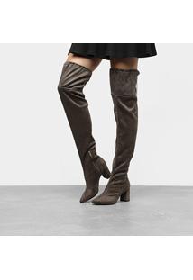 Bota Meia Over The Knee Mixage Salto Grosso Feminina - Feminino-Chumbo