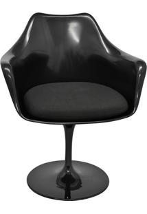 Cadeira Com Braços E Almofada Saarinem -Rivatti - Preto