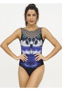 Body Praia- Azul Marinho & Preto- Patrapatra