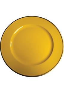 Sousplat Amarelo E Borda Dourada