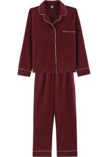 Pijama Longo Com Botões - 7Cbdrwqen9 Hering Feminino - Feminino-Vermelho